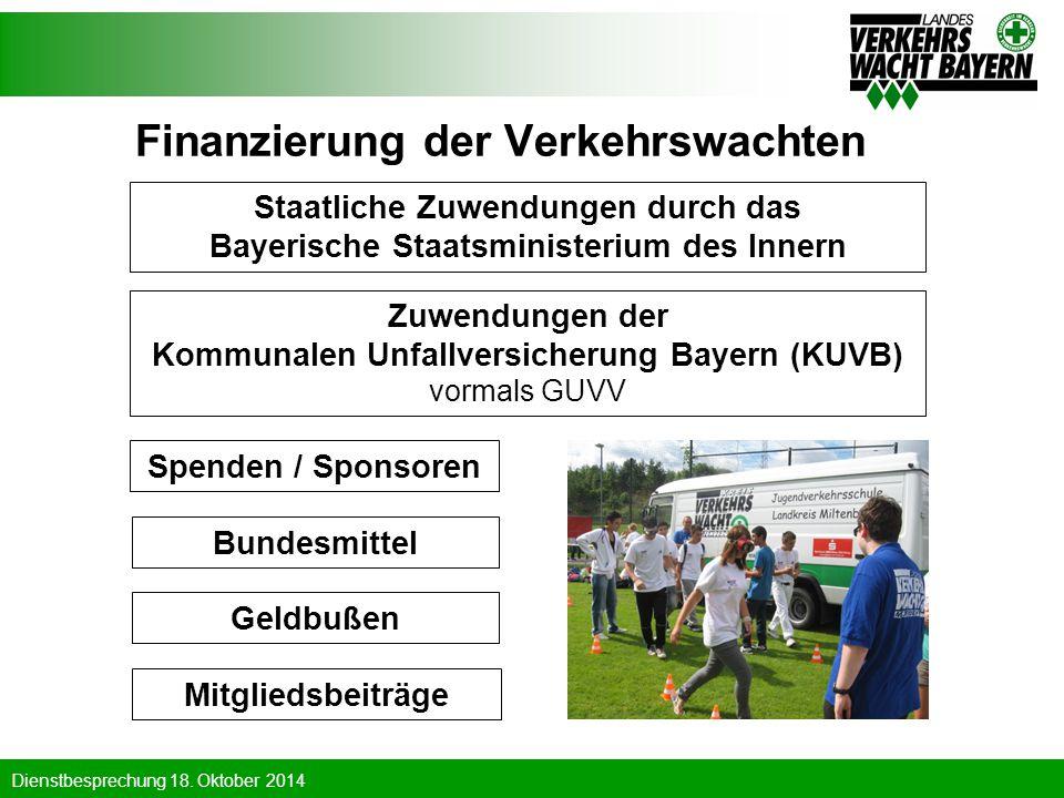 Dienstbesprechung 18. Oktober 2014 Finanzierung der Verkehrswachten Staatliche Zuwendungen durch das Bayerische Staatsministerium des Innern Mitglieds
