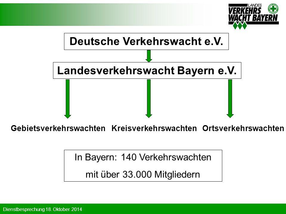 Dienstbesprechung 18. Oktober 2014 Deutsche Verkehrswacht e.V. Landesverkehrswacht Bayern e.V. In Bayern: 140 Verkehrswachten mit über 33.000 Mitglied