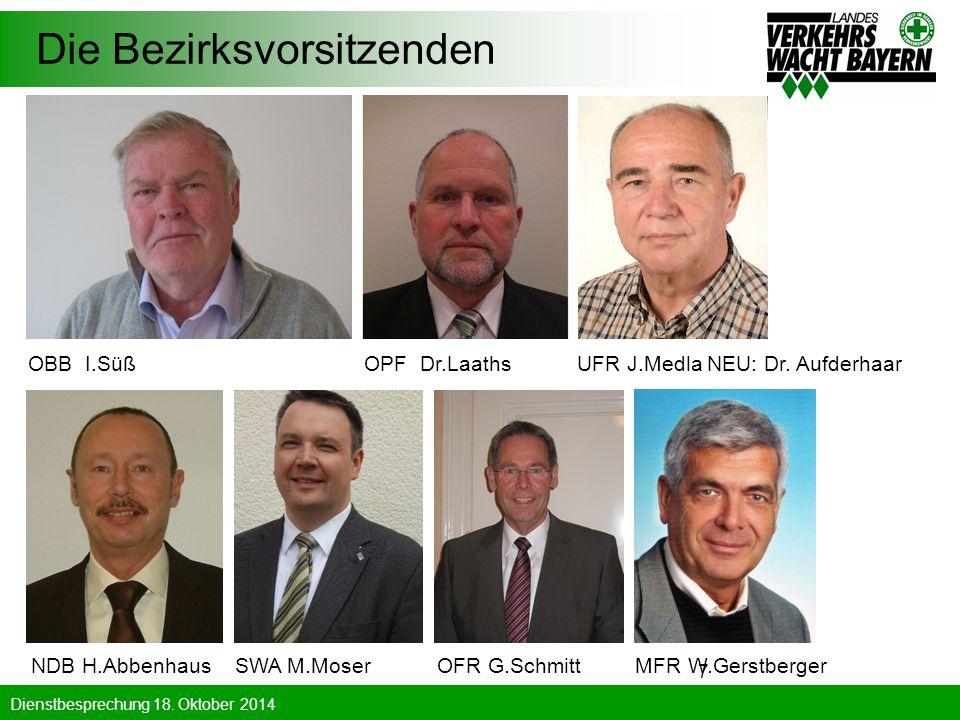 Dienstbesprechung 18. Oktober 2014 7 Die Bezirksvorsitzenden OBB I.Süß OPF Dr.Laaths UFR J.Medla NEU: Dr. Aufderhaar NDB H.Abbenhaus SWA M.Moser OFR G