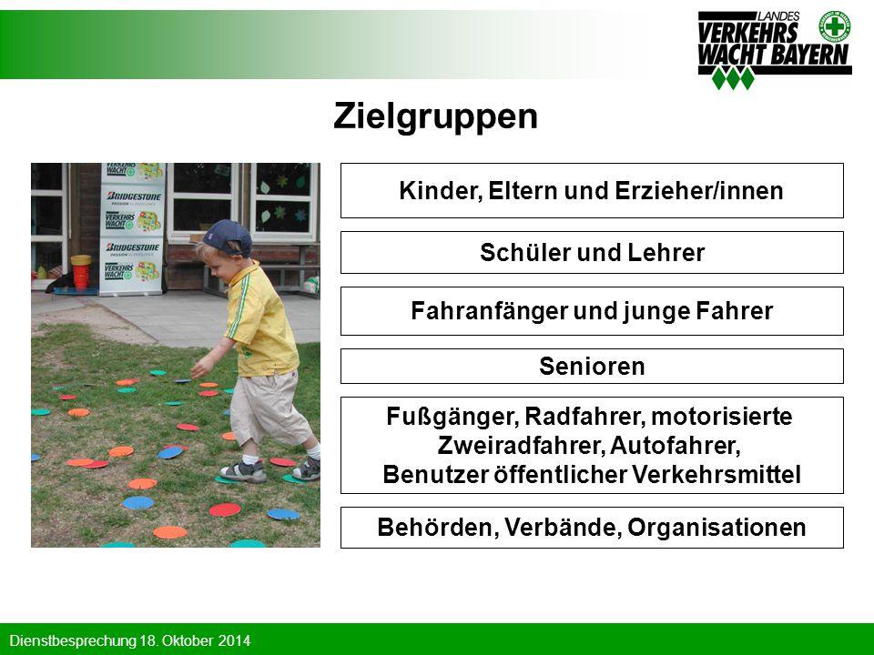 Dienstbesprechung 18. Oktober 2014 Zielgruppen Kinder, Eltern und Erzieher/innen Schüler und Lehrer Fahranfänger und junge Fahrer Senioren Fußgänger,