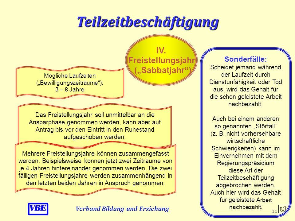 """Teilzeitbeschäftigung Verband Bildung und Erziehung IV. Freistellungsjahr (""""Sabbatjahr"""") Hier handelt es sich um eine besondere Form der Teilzeitbesch"""