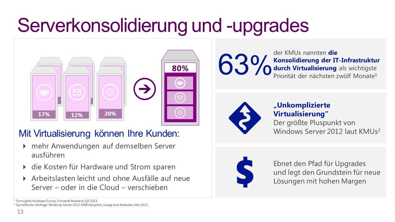 Serverkonsolidierung und -upgrades verkaufen 13 12% 20% 17% 12% 20% 17%