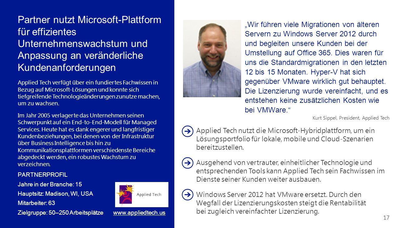 """Partner nutzt Microsoft-Plattform für effizientes Unternehmenswachstum und Anpassung an veränderliche Kundenanforderungen PARTNERPROFIL Jahre in der Branche: 15 Hauptsitz: Madison, WI, USA Mitarbeiter: 63 Zielgruppe: 50–250 Arbeitsplätze """"Wir führen viele Migrationen von älteren Servern zu Windows Server 2012 durch und begleiten unsere Kunden bei der Umstellung auf Office 365."""