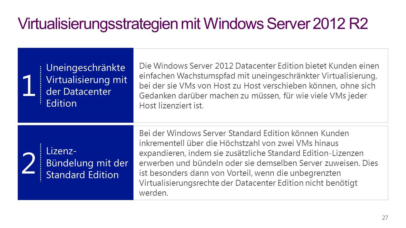 Die Windows Server 2012 Datacenter Edition bietet Kunden einen einfachen Wachstumspfad mit uneingeschränkter Virtualisierung, bei der sie VMs von Host zu Host verschieben können, ohne sich Gedanken darüber machen zu müssen, für wie viele VMs jeder Host lizenziert ist.