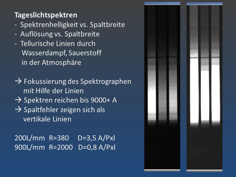 Tageslichtspektren - Spektrenhelligkeit vs. Spaltbreite - Auflösung vs. Spaltbreite - Tellurische Linien durch Wasserdampf, Sauerstoff in der Atmosphä