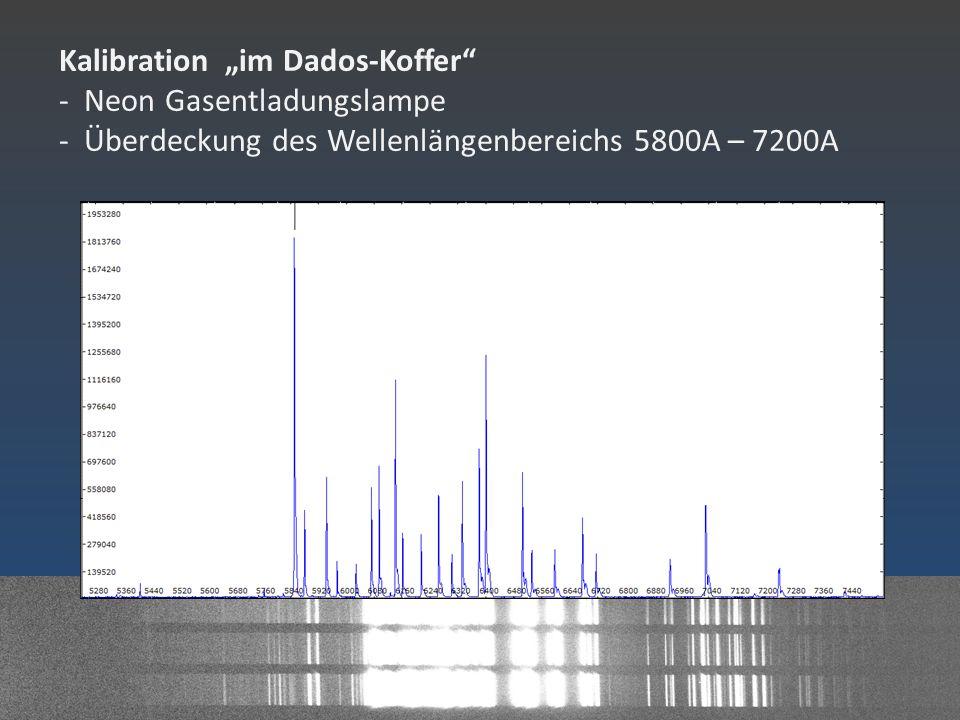 """Kalibration """"im Dados-Koffer"""" - Neon Gasentladungslampe - Überdeckung des Wellenlängenbereichs 5800A – 7200A"""