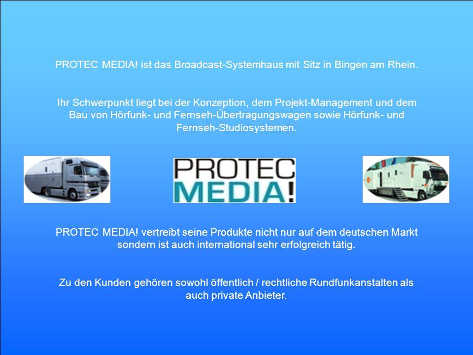 Ihr Schwerpunkt liegt bei der Konzeption, dem Projekt-Management und dem Bau von Hörfunk- und Fernseh-Übertragungswagen sowie Hörfunk- und Fernseh-Stu