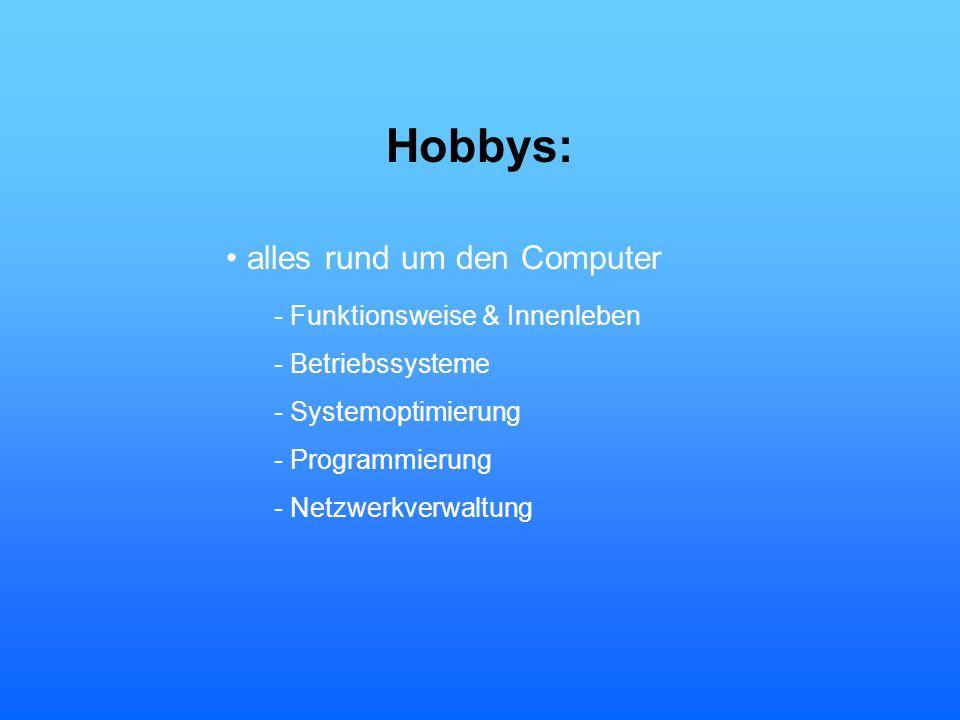 Hobbys: alles rund um den Computer - Funktionsweise & Innenleben - Betriebssysteme - Systemoptimierung - Programmierung - Netzwerkverwaltung