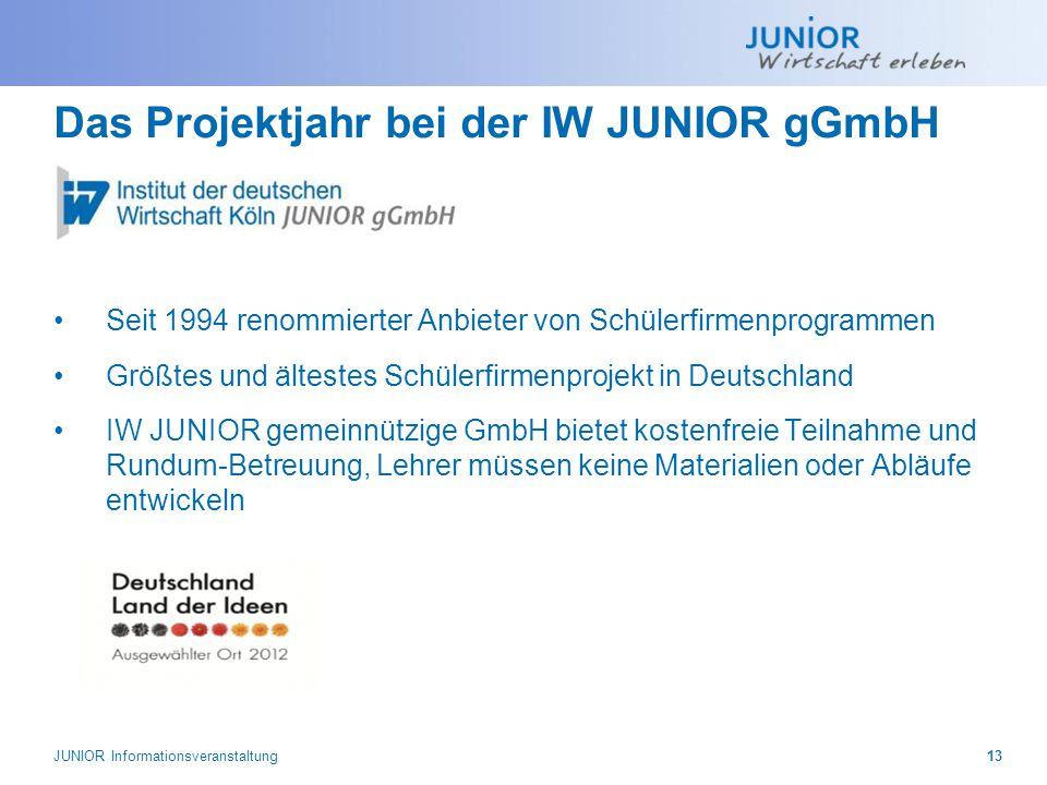 Das Projektjahr bei der IW JUNIOR gGmbH Seit 1994 renommierter Anbieter von Schülerfirmenprogrammen Größtes und ältestes Schülerfirmenprojekt in Deuts