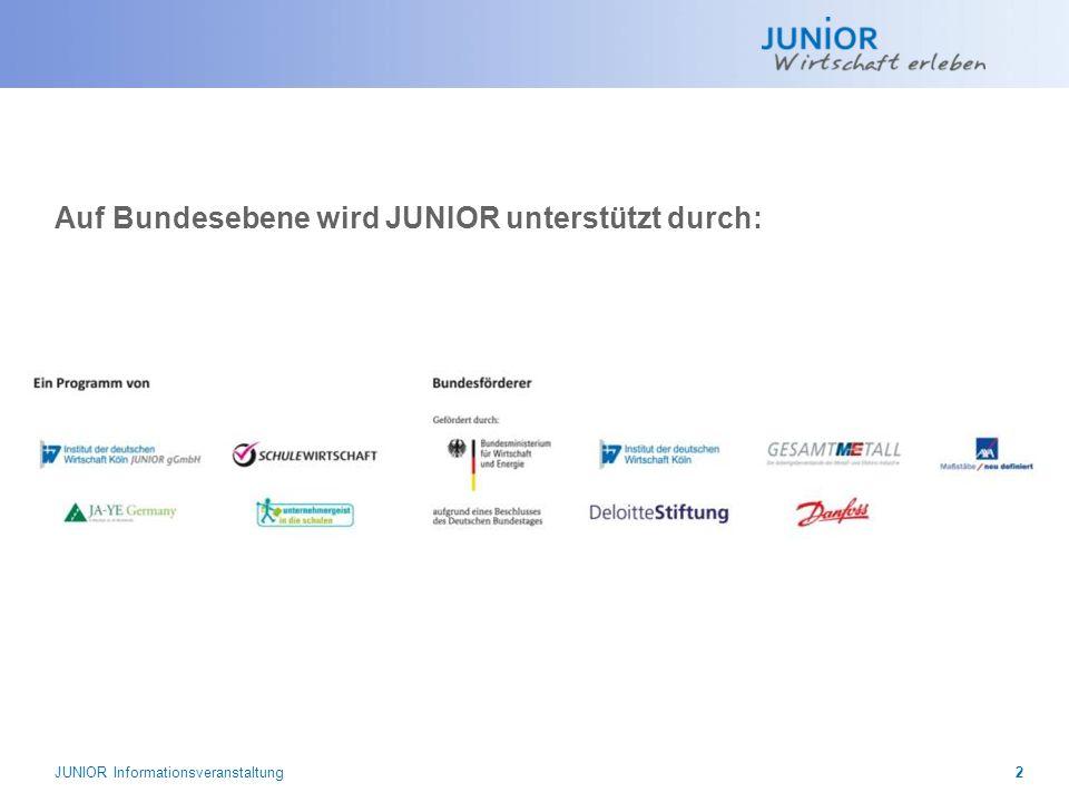 JUNIOR wird in Hessen gefördert durch: JUNIOR wird in Hessen unterstützt durch: Das Projekt JUNIOR wird aus Mitteln des Europäischen Sozialfonds und aus Mitteln des Landes Hessen sowie des Hessischen Ministeriums für Wirtschaft, Verkehr und Landesentwicklung gefördert.