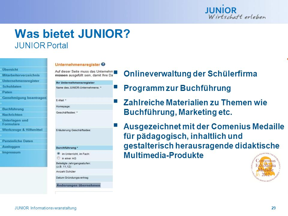 Was bietet JUNIOR.