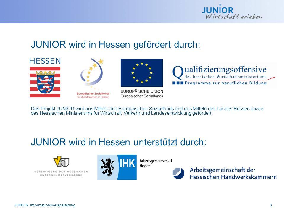 JUNIOR wird in Hessen gefördert durch: JUNIOR wird in Hessen unterstützt durch: Das Projekt JUNIOR wird aus Mitteln des Europäischen Sozialfonds und a