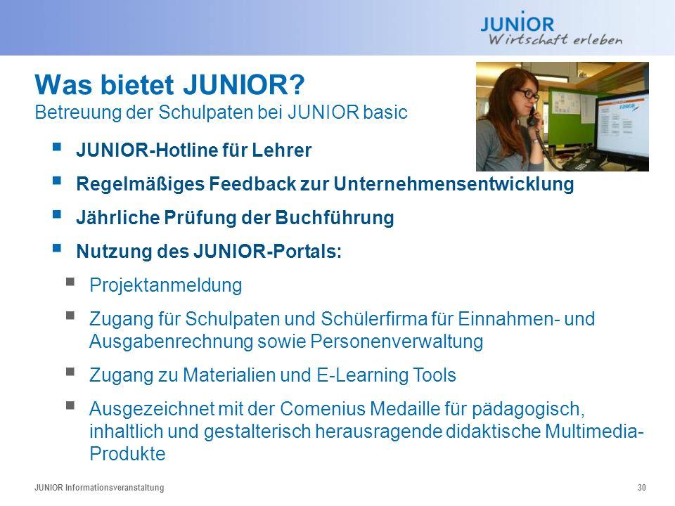 Was bietet JUNIOR? Betreuung der Schulpaten bei JUNIOR basic  JUNIOR-Hotline für Lehrer  Regelmäßiges Feedback zur Unternehmensentwicklung  Jährlic