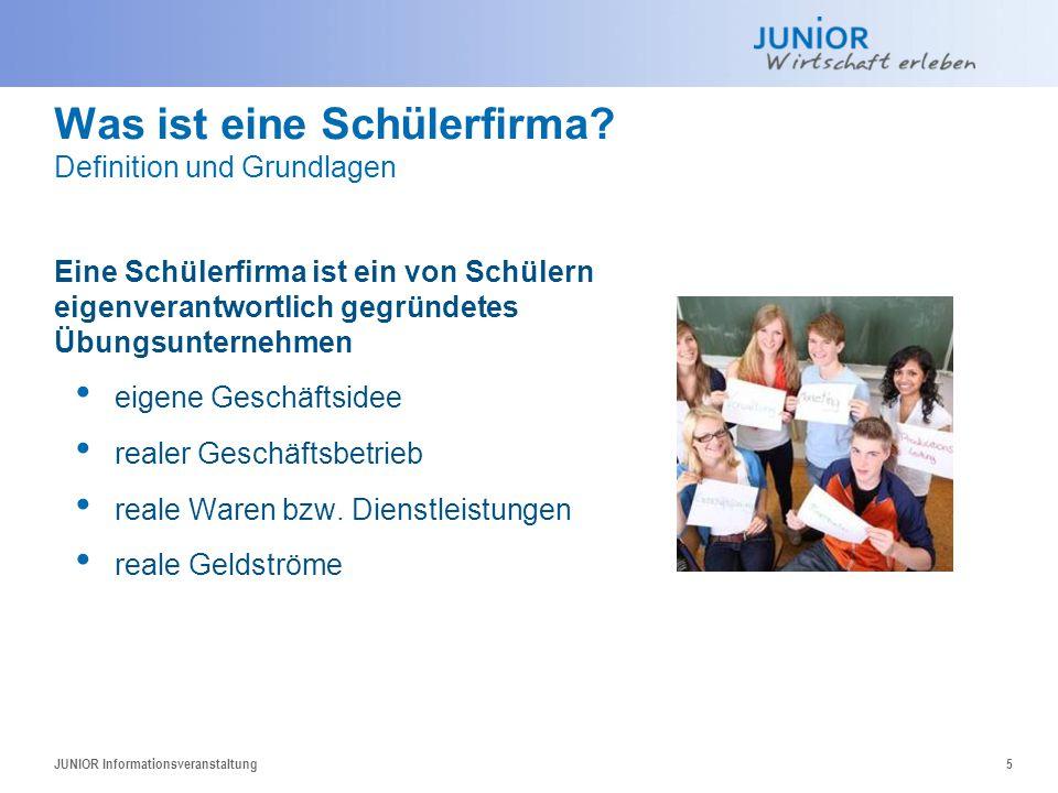 Was ist eine Schülerfirma? Definition und Grundlagen JUNIOR Informationsveranstaltung5 Eine Schülerfirma ist ein von Schülern eigenverantwortlich gegr