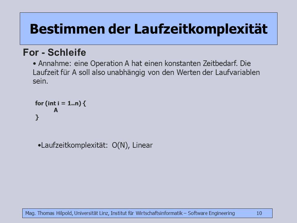 Mag. Thomas Hilpold, Universität Linz, Institut für Wirtschaftsinformatik – Software Engineering 10 Bestimmen der Laufzeitkomplexität For - Schleife A