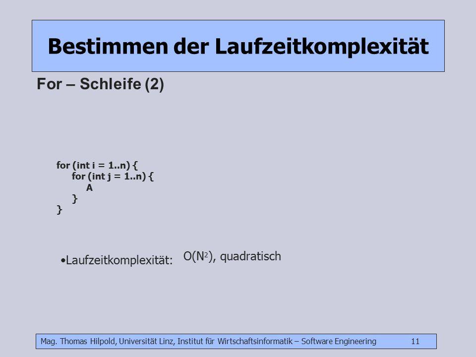 Mag. Thomas Hilpold, Universität Linz, Institut für Wirtschaftsinformatik – Software Engineering 11 Bestimmen der Laufzeitkomplexität For – Schleife (
