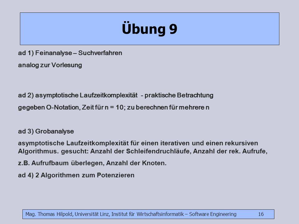 Mag. Thomas Hilpold, Universität Linz, Institut für Wirtschaftsinformatik – Software Engineering 16 Übung 9 ad 1) Feinanalyse – Suchverfahren analog z
