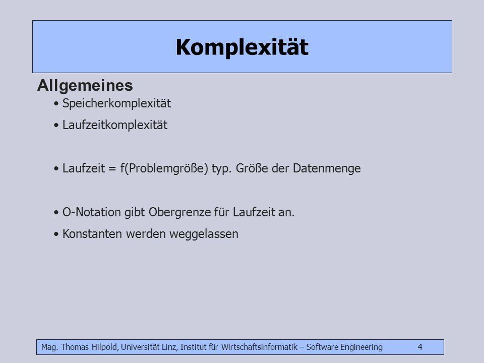 Mag. Thomas Hilpold, Universität Linz, Institut für Wirtschaftsinformatik – Software Engineering 4 Komplexität Allgemeines Speicherkomplexität Laufzei