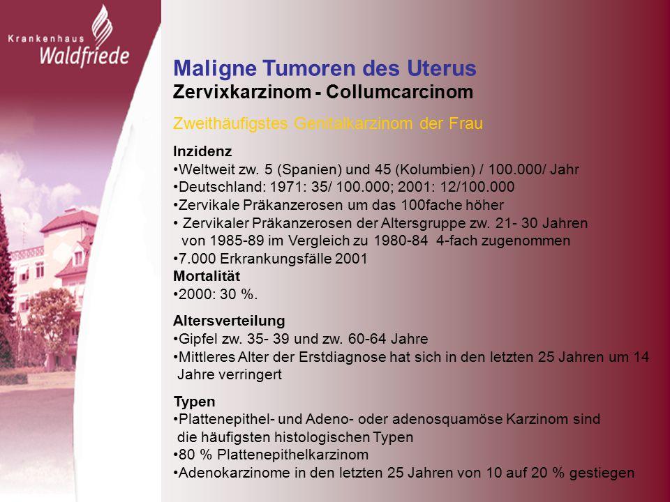 Maligne Tumoren des Uterus Zervixkarzinom - Collumcarcinom Zweithäufigstes Genitalkarzinom der Frau Inzidenz Weltweit zw.