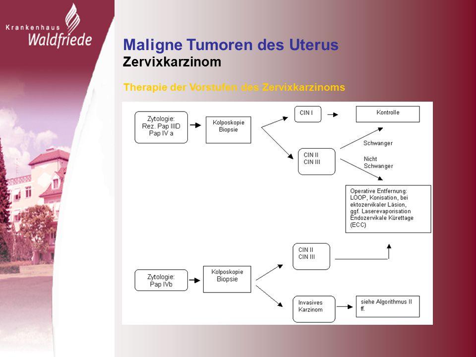 Maligne Tumoren des Uterus Zervixkarzinom Therapie der Vorstufen des Zervixkarzinoms