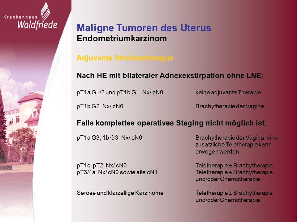 Maligne Tumoren des Uterus Endometriumkarzinom Adjuvante Strahlentherapie Nach HE mit bilateraler Adnexexstirpation ohne LNE: pT1a G1/2 und pT1b G1 Nx/ cN0 keine adjuvante Therapie pT1b G2 Nx/ cN0 Brachytherapie der Vagina Falls komplettes operatives Staging nicht möglich ist: pT1a G3, 1b G3 Nx/ cN0 Brachytherapie der Vagina, eine zusätzliche Teletherapie kann erwogen werden pT1c, pT2 Nx/ cN0 Teletherapie ± Brachytherapie pT3/4a Nx/ cN0 sowie alle cN1Teletherapie ± Brachytherapie und/oder Chemotherapie Seröse und klarzellige Karzinome Teletherapie ± Brachytherapie und/oder Chemotherapie