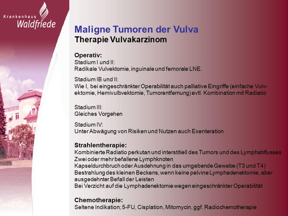 Maligne Tumoren der Vulva Therapie Vulvakarzinom Operativ: Stadium I und II: Radikale Vulvektomie, inguinale und femorale LNE.