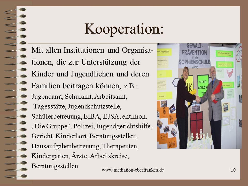 www.mediation-oberfranken.de10 Kooperation: Mit allen Institutionen und Organisa- tionen, die zur Unterstützung der Kinder und Jugendlichen und deren