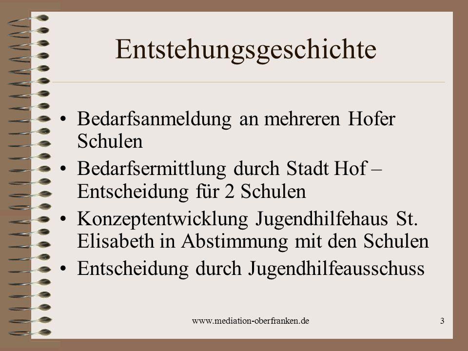 3 Entstehungsgeschichte Bedarfsanmeldung an mehreren Hofer Schulen Bedarfsermittlung durch Stadt Hof – Entscheidung für 2 Schulen Konzeptentwicklung Jugendhilfehaus St.