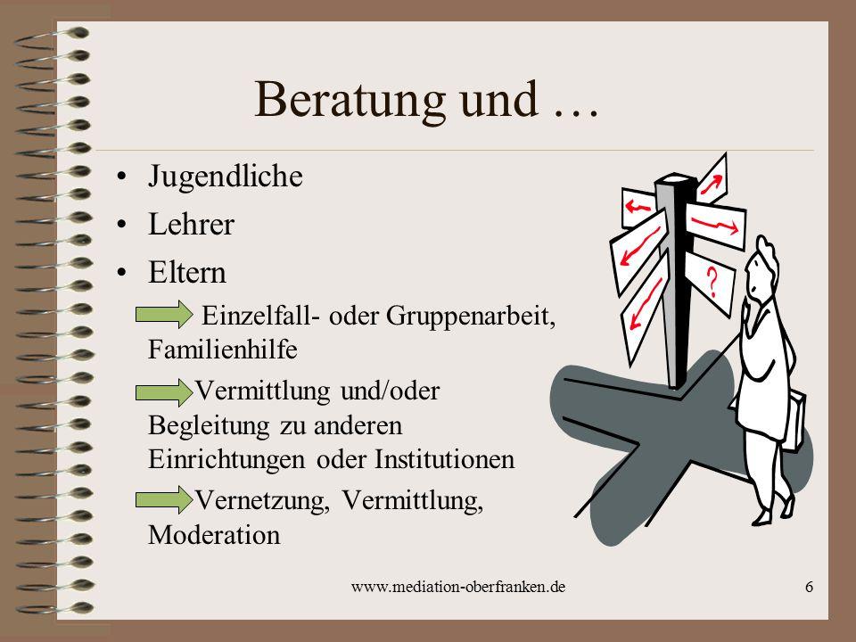 www.mediation-oberfranken.de6 Beratung und … Jugendliche Lehrer Eltern Einzelfall- oder Gruppenarbeit, Familienhilfe Vermittlung und/oder Begleitung z