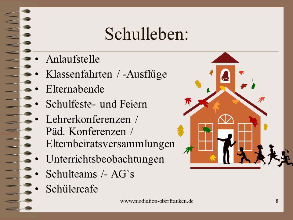 www.mediation-oberfranken.de8 Schulleben: Anlaufstelle Klassenfahrten / -Ausflüge Elternabende Schulfeste- und Feiern Lehrerkonferenzen / Päd. Konfere