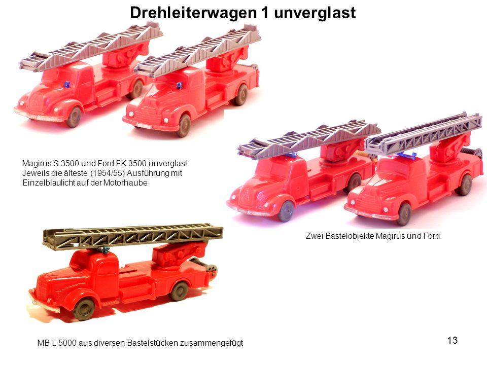 Drehleiterwagen 1 unverglast Magirus S 3500 und Ford FK 3500 unverglast.