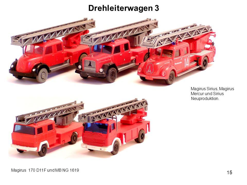 Drehleiterwagen 3 Magirus Sirius, Magirus Mercur und Sirius Neuproduktion. Magirus 170 D11F und MB NG 1619 15