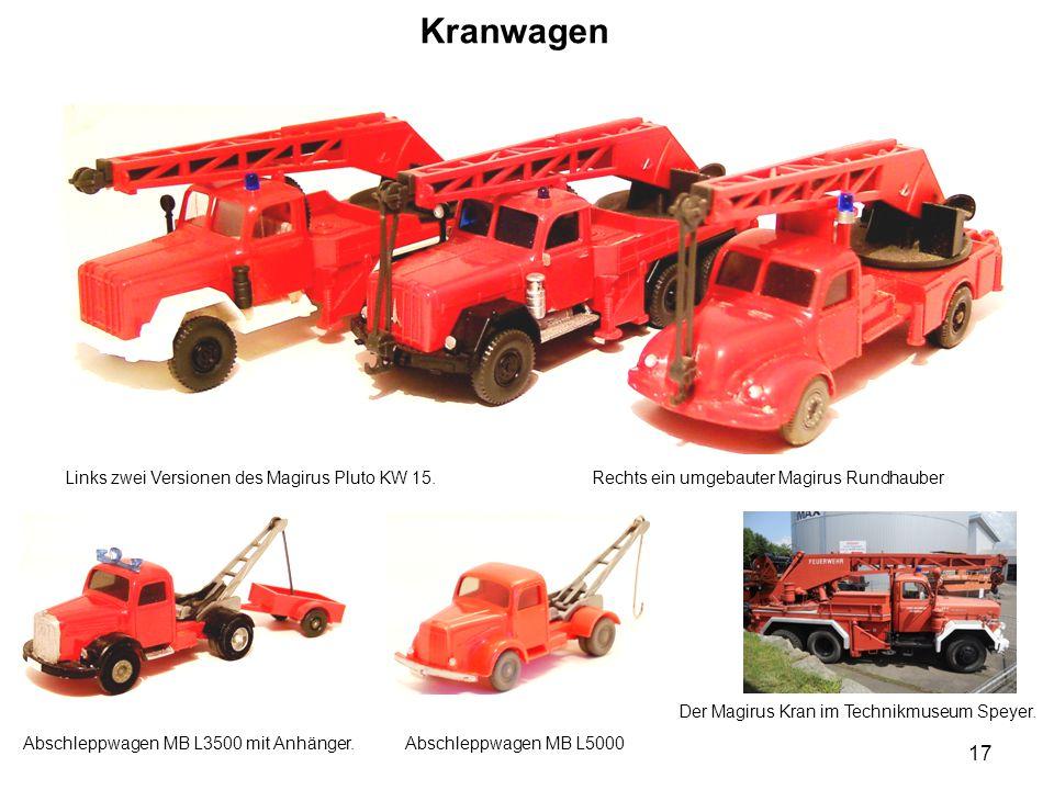 Kranwagen Links zwei Versionen des Magirus Pluto KW 15. Rechts ein umgebauter Magirus Rundhauber Abschleppwagen MB L3500 mit Anhänger. Der Magirus Kra