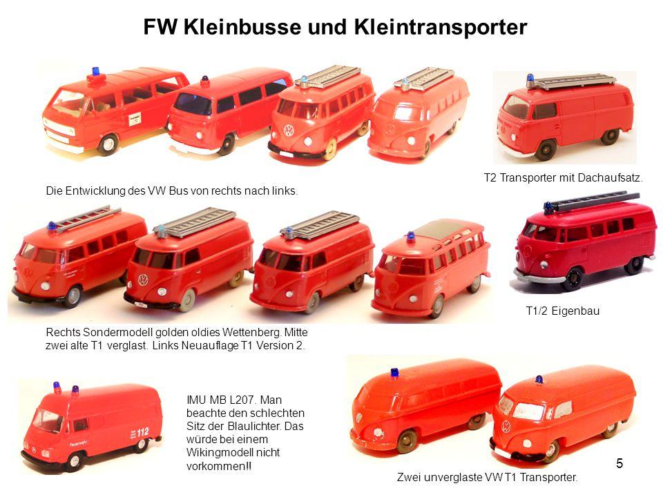 FW Kleinbusse und Kleintransporter Die Entwicklung des VW Bus von rechts nach links. IMU MB L207. Man beachte den schlechten Sitz der Blaulichter. Das