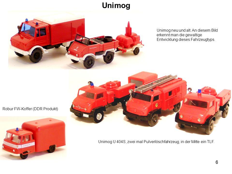 Unimog Unimog neu und alt. An diesem Bild erkennt man die gewaltige Entwicklung dieses Fahrzeugtyps. Unimog U 404S, zwei mal Pulverlöschfahrzeug, in d