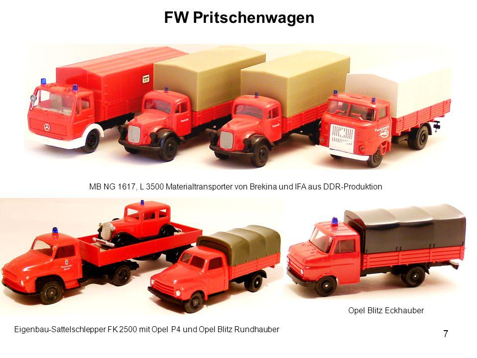 FW Pritschenwagen MB NG 1617, L 3500 Materialtransporter von Brekina und IFA aus DDR-Produktion Opel Blitz Eckhauber Eigenbau-Sattelschlepper FK 2500 mit Opel P4 und Opel Blitz Rundhauber 7