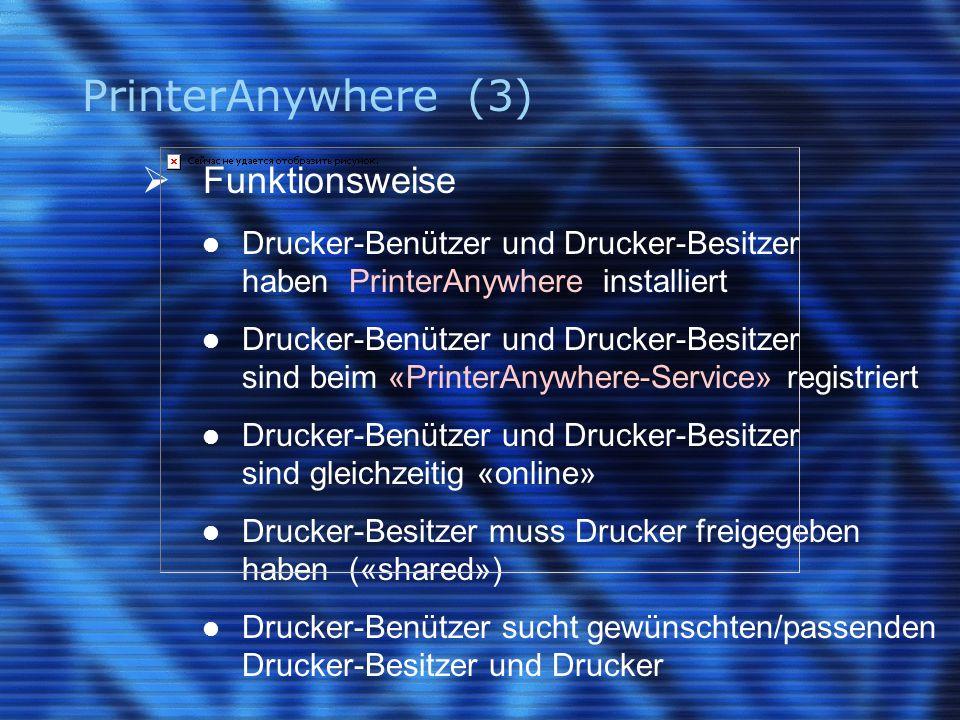 PrinterAnywhere (3)  Funktionsweise Drucker-Benützer und Drucker-Besitzer haben PrinterAnywhere installiert Drucker-Benützer und Drucker-Besitzer sin