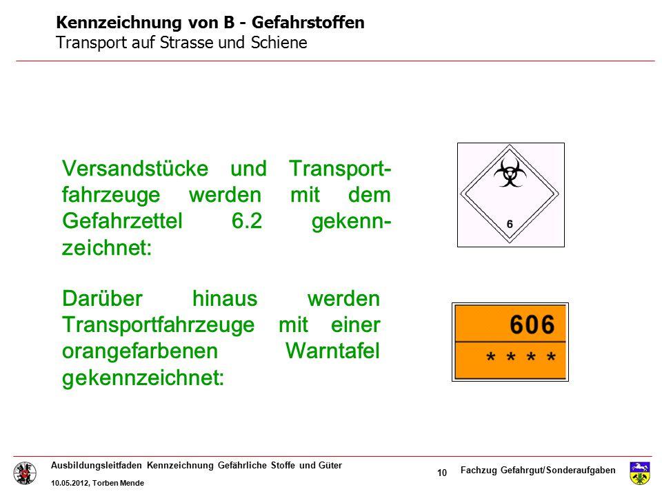 Fachzug Gefahrgut/Sonderaufgaben Ausbildungsleitfaden Kennzeichnung Gefährliche Stoffe und Güter 10.05.2012, Torben Mende 10 Versandstücke und Transpo