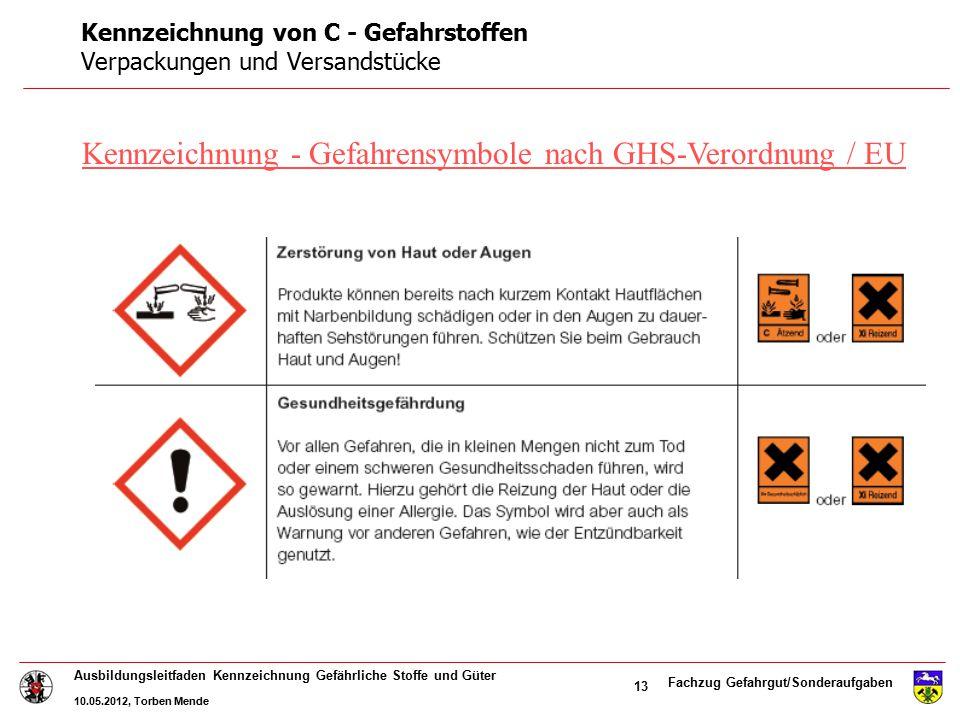 Fachzug Gefahrgut/Sonderaufgaben Ausbildungsleitfaden Kennzeichnung Gefährliche Stoffe und Güter 10.05.2012, Torben Mende 13 Kennzeichnung - Gefahrens