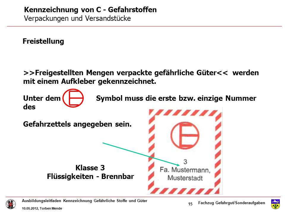 Fachzug Gefahrgut/Sonderaufgaben Ausbildungsleitfaden Kennzeichnung Gefährliche Stoffe und Güter 10.05.2012, Torben Mende 15 >>Freigestellten Mengen v