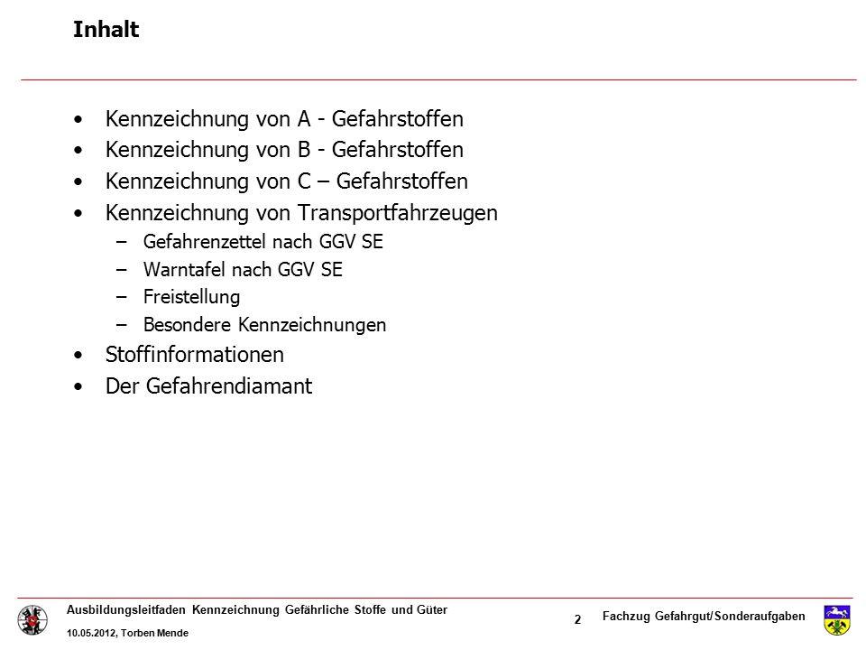Fachzug Gefahrgut/Sonderaufgaben Ausbildungsleitfaden Kennzeichnung Gefährliche Stoffe und Güter 10.05.2012, Torben Mende 23 2.0 verdichtete, verflüssigte oder unter Druck gelöste Gase 2.1 Entzündbare Gase (Butan, Propan) 2.2 Nicht entzündbare und nicht giftige Gase (Atemluft) 2.3 giftige Gase (Chlorgas) 2.22.12.3 Kennzeichnung von Transportfahrzeugen Gefahrenzettel nach GGV SE