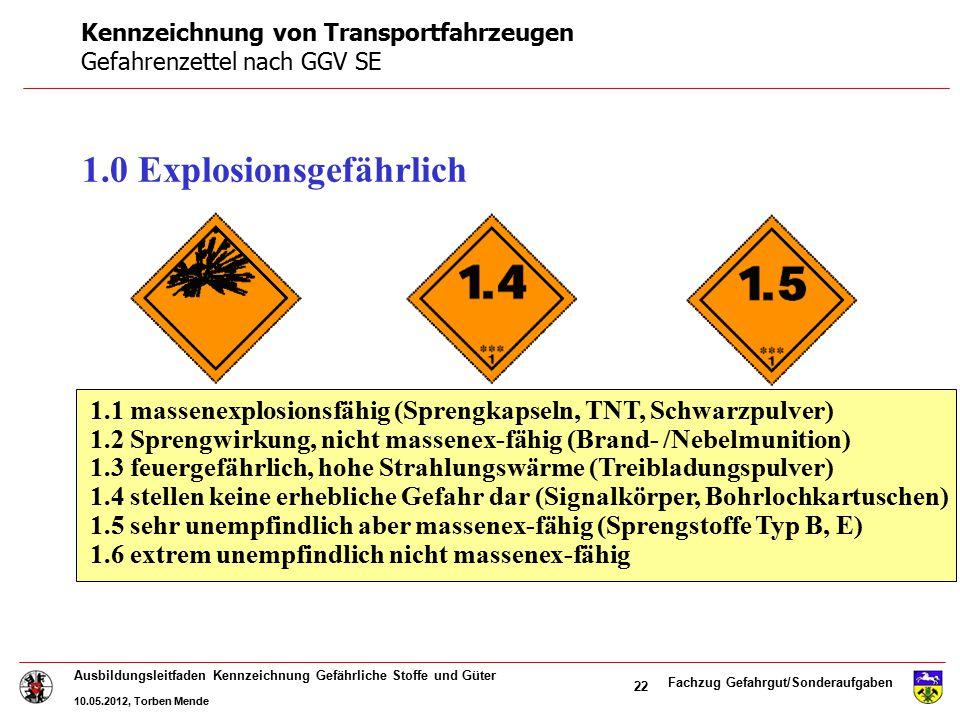Fachzug Gefahrgut/Sonderaufgaben Ausbildungsleitfaden Kennzeichnung Gefährliche Stoffe und Güter 10.05.2012, Torben Mende 22 1.0 Explosionsgefährlich