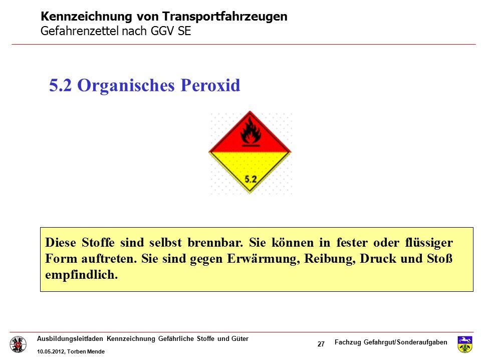 Fachzug Gefahrgut/Sonderaufgaben Ausbildungsleitfaden Kennzeichnung Gefährliche Stoffe und Güter 10.05.2012, Torben Mende 27 5.2 Organisches Peroxid D