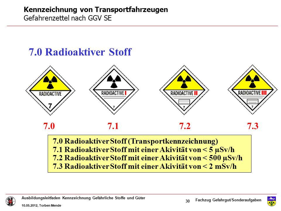 Fachzug Gefahrgut/Sonderaufgaben Ausbildungsleitfaden Kennzeichnung Gefährliche Stoffe und Güter 10.05.2012, Torben Mende 30 7.0 Radioaktiver Stoff 7.