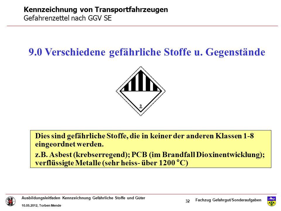 Fachzug Gefahrgut/Sonderaufgaben Ausbildungsleitfaden Kennzeichnung Gefährliche Stoffe und Güter 10.05.2012, Torben Mende 32 9.0 Verschiedene gefährli