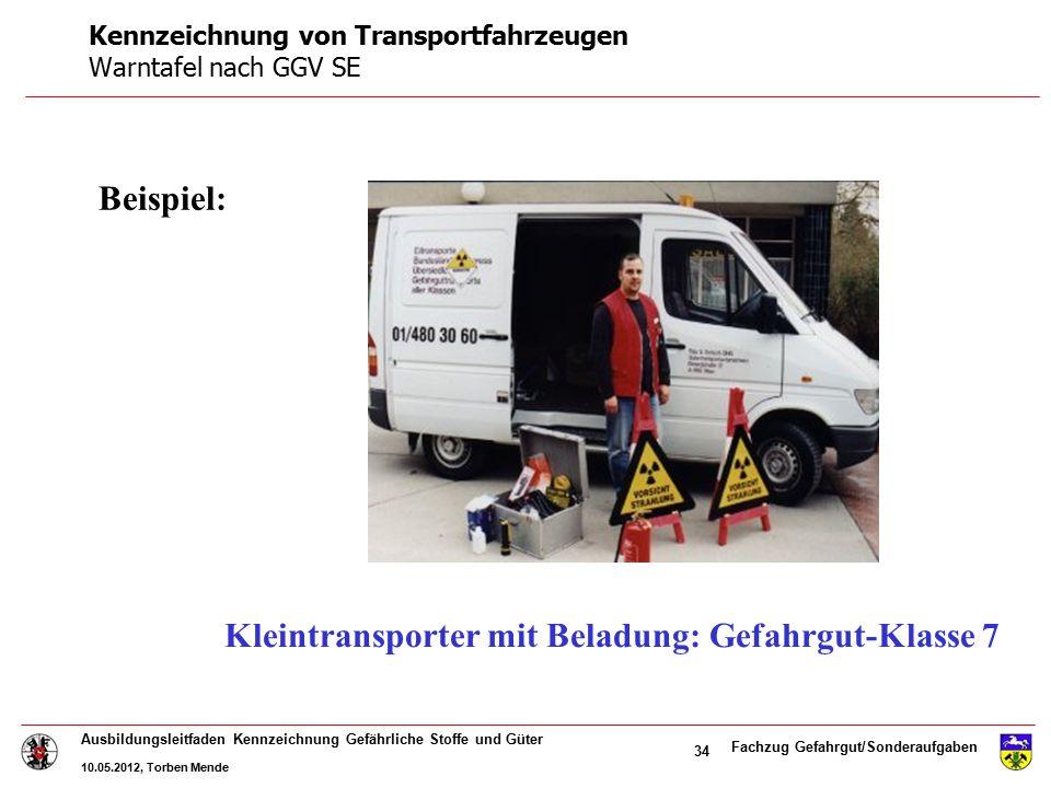 Fachzug Gefahrgut/Sonderaufgaben Ausbildungsleitfaden Kennzeichnung Gefährliche Stoffe und Güter 10.05.2012, Torben Mende 34 Kleintransporter mit Bela