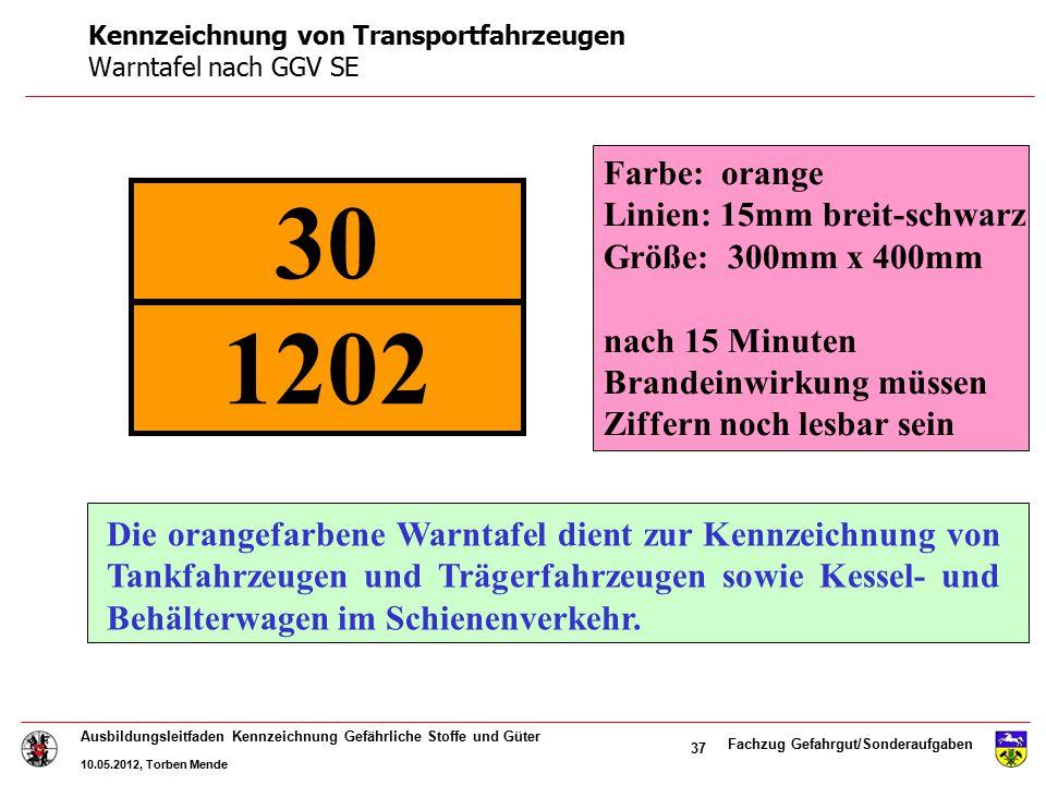 Fachzug Gefahrgut/Sonderaufgaben Ausbildungsleitfaden Kennzeichnung Gefährliche Stoffe und Güter 10.05.2012, Torben Mende 37 Die orangefarbene Warntaf