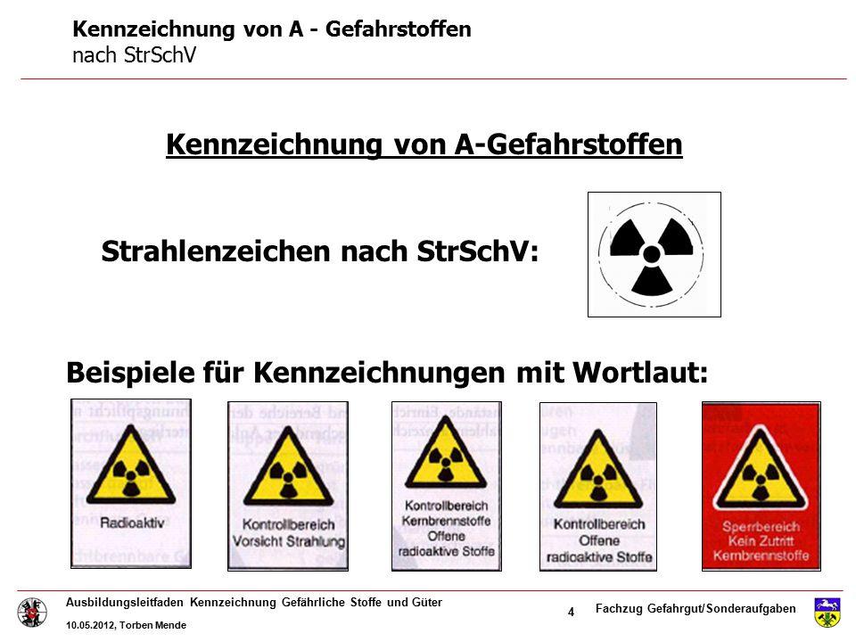 Fachzug Gefahrgut/Sonderaufgaben Ausbildungsleitfaden Kennzeichnung Gefährliche Stoffe und Güter 10.05.2012, Torben Mende 4 Kennzeichnung von A-Gefahr