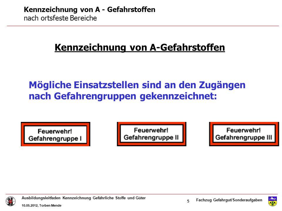 Fachzug Gefahrgut/Sonderaufgaben Ausbildungsleitfaden Kennzeichnung Gefährliche Stoffe und Güter 10.05.2012, Torben Mende 5 Kennzeichnung von A-Gefahr