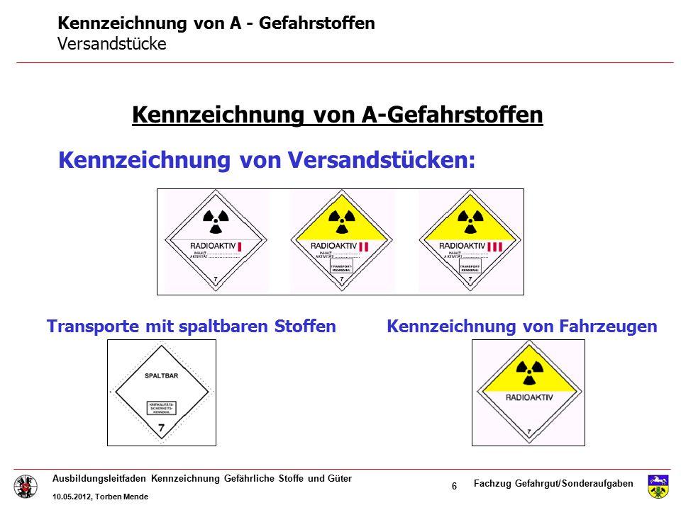 Fachzug Gefahrgut/Sonderaufgaben Ausbildungsleitfaden Kennzeichnung Gefährliche Stoffe und Güter 10.05.2012, Torben Mende 6 Kennzeichnung von A-Gefahr